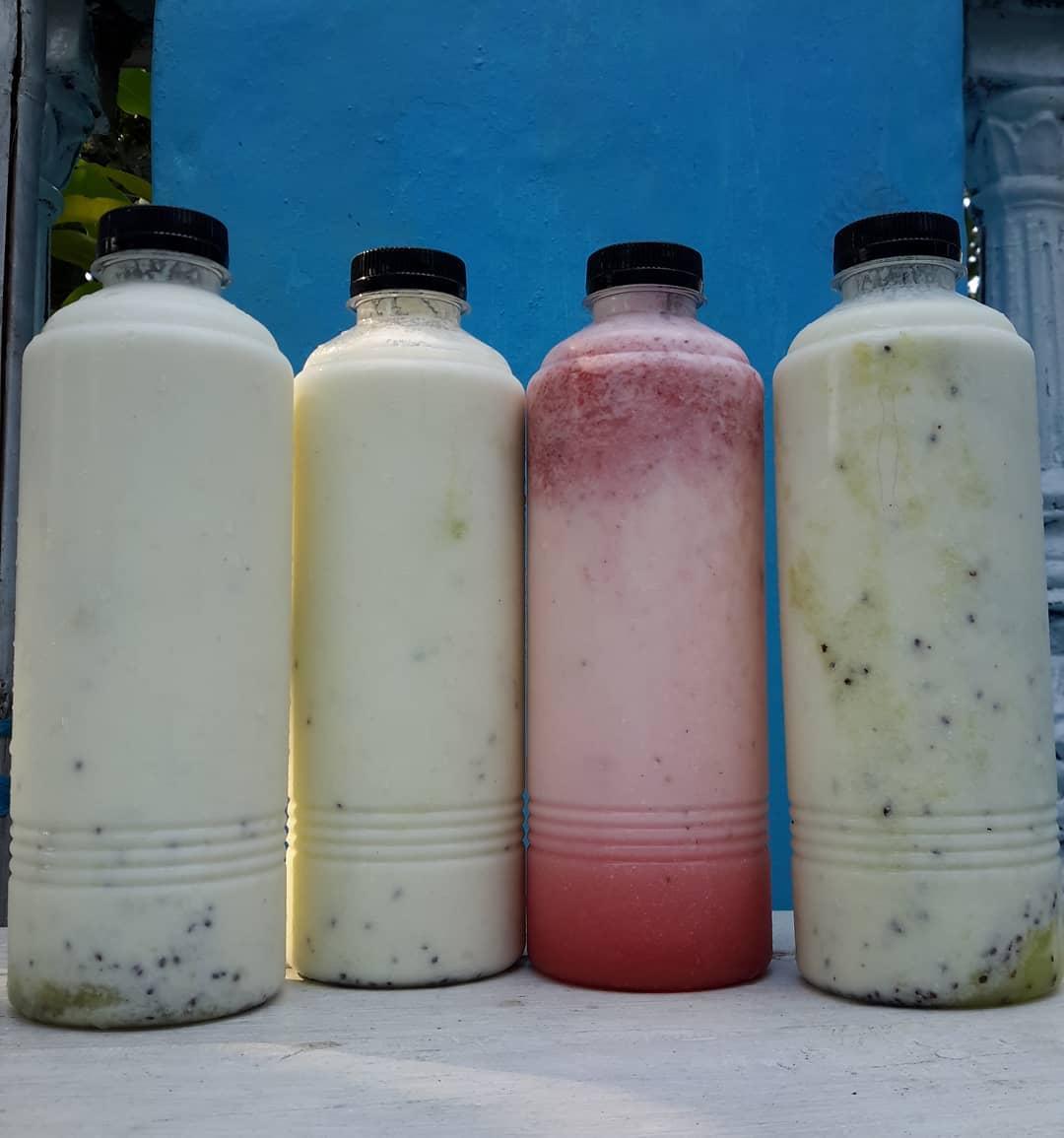 kefir preparado con leche de vaca
